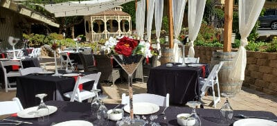tables set for outdoor dining