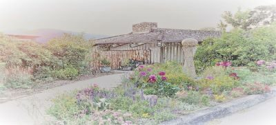 watercolor of event center past the flower garden with fountain