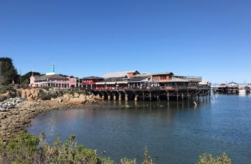 Multicolored buildings on dock near ocean