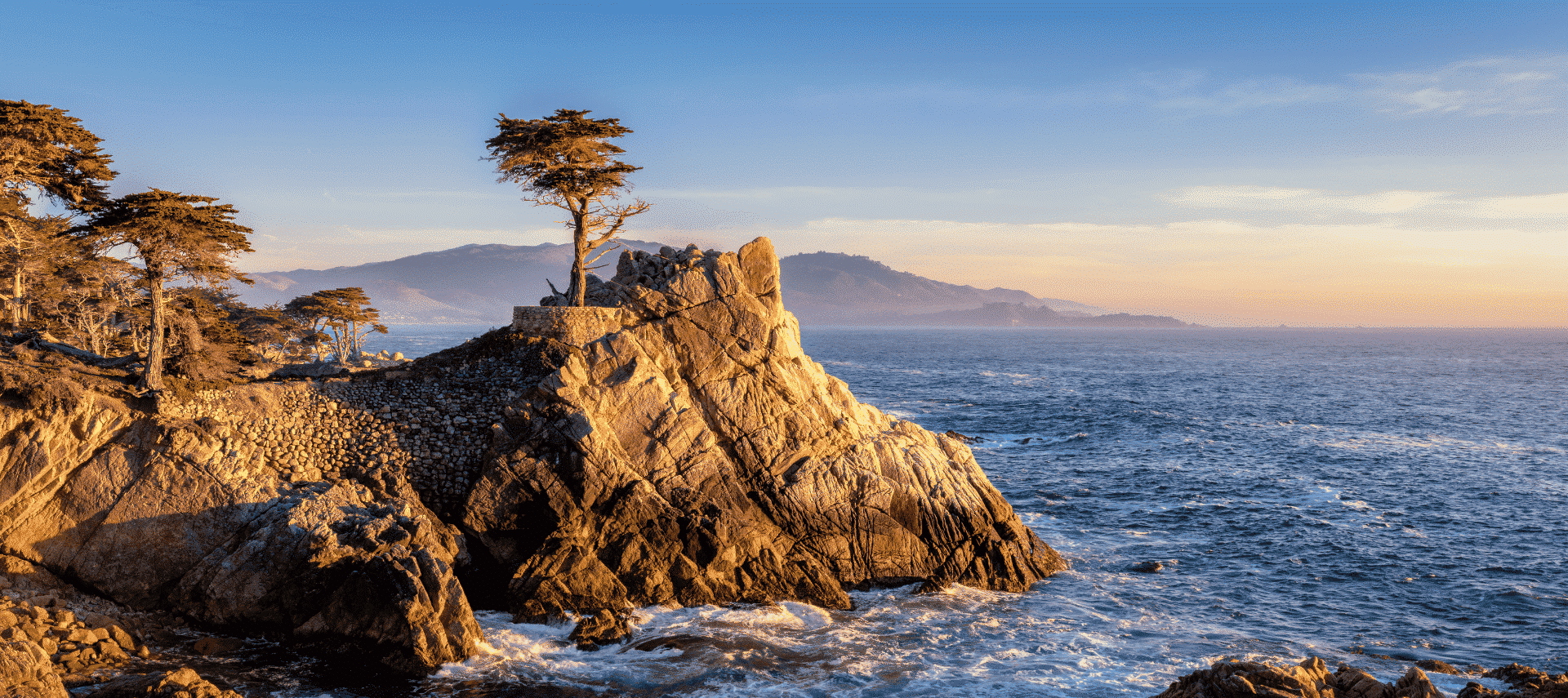The Lone Cypress in Monterey at sunset.