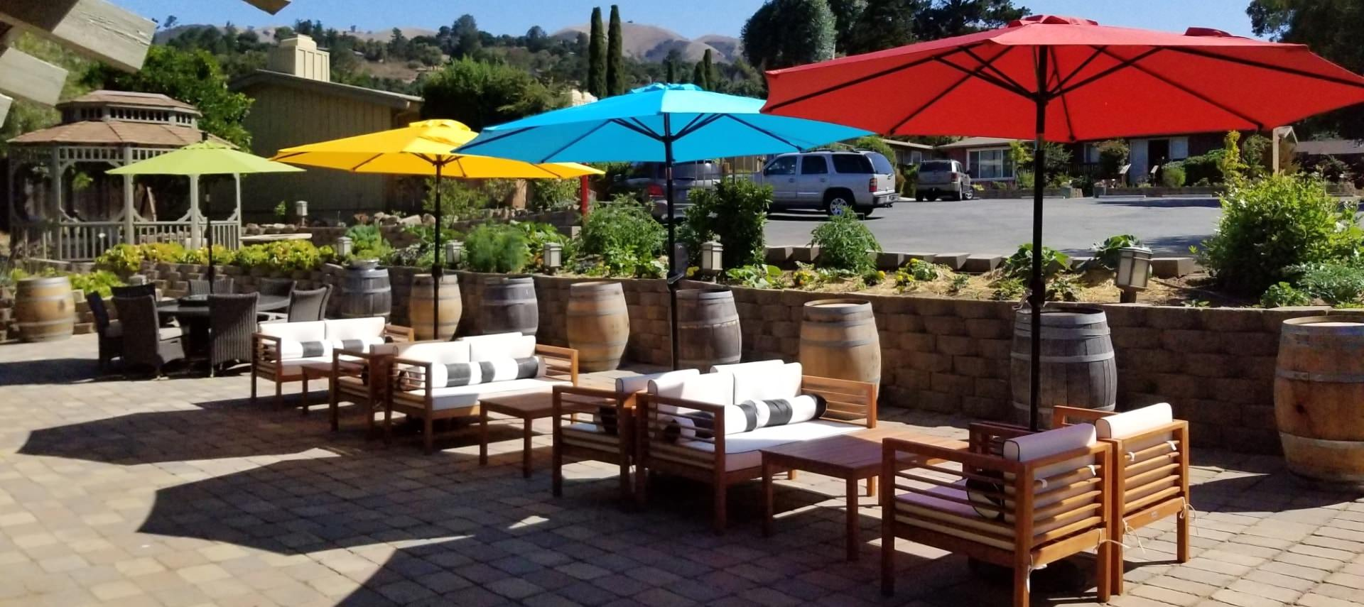Large patio space with multiple seating options and red, yellow, blue, and green umbrellas