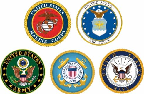 Official seals for the US Marine Corps, US Air Force, US Army, US Coast Guard, and US Navy